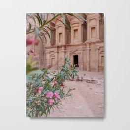 The Monastery Petra Jordan with Flowers Metal Print