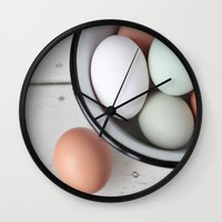 eggs Wall Clocks featuring Eggs by Schaepman & Habets