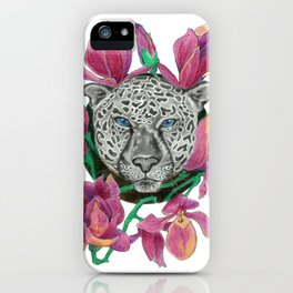 Snow panther hidden in magnolias iPhone Case
