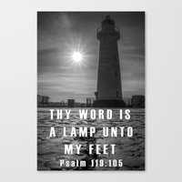bible verse Canvas Prints featuring Bible verse - Donaghadee Lighthouse by cmphotography