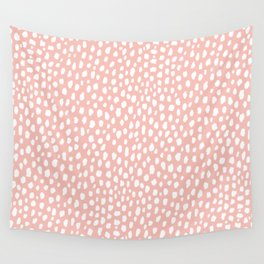 Pink Polka Dot Spots (white/pink) Wall Tapestry