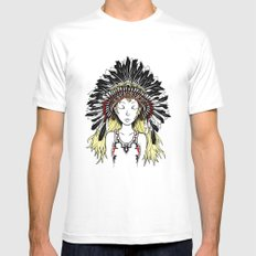 Native American Girl (colored) MEDIUM White Mens Fitted Tee