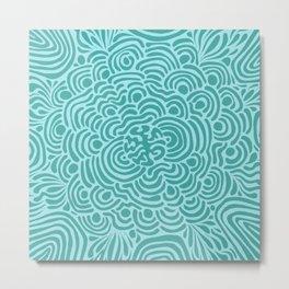 Teal Blue Pattern Metal Print