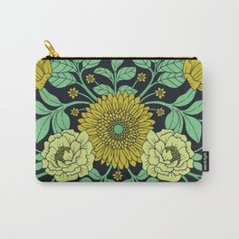Seafoam Green, Chartreuse, Mustard Yellow & Navy Blue Floral Pattern Carry-All Pouch