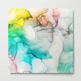 Aqua Dreams  Abstract -Alcohol Ink Fine Art Metal Print
