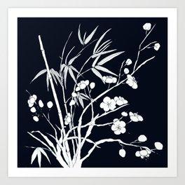 bamboo and plum flower white on black Art Print