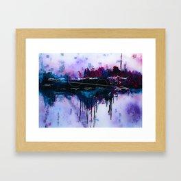 Dawn, pink and fushia black and blue acrylic abstract artwork Framed Art Print