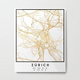 ZÜRICH SWITZERLAND CITY STREET MAP ART Metal Print