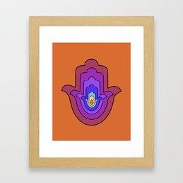 Hand of Fatima - Hamsa Hand - Orange Framed Art Print