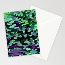 Foliage Abstract Pop Art In Jade Green and Purple Stationery Cards