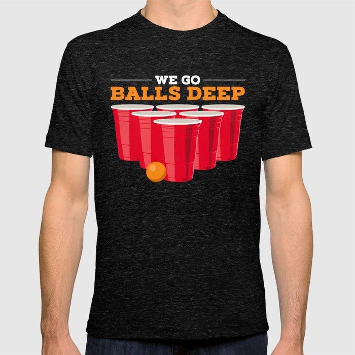 GO BALLS DEEP Funny Beer Pong Graphic T-Shirts Mens Mans Rude T Shirts Black UK