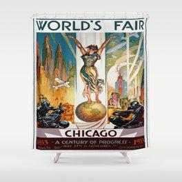 Vintage World's Fair Chicago IL 1933 Shower Curtain