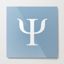 Greek letter Psi sign on placid blue background Metal Print