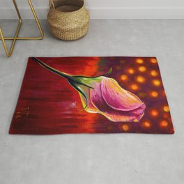 Pink rose oil painting on canvas Rug