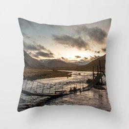 Broken Bridge Valley Dusk Throw Pillow