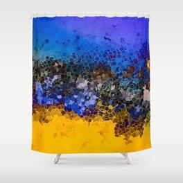 Blue and Summer Gold Circular Abstract Art Shower Curtain