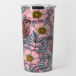 Wrens in the roses Travel Mug