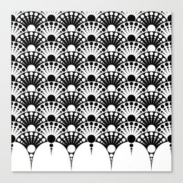 black and white art deco inspired fan pattern Canvas Print