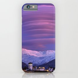 Lenticular clouds over Granada, The Alhambra, Albaicin village and Sierra Nevada. At sunset iPhone Case