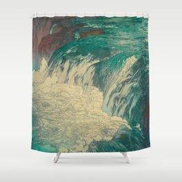 Rapids at the Upper Reaches of Tone River Vintage Beautiful Japanese Woodblock Print Hiroshi Yoshida Shower Curtain