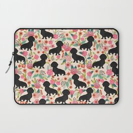 Doxie Florals - vintage doxie and florals gift gifts for dog lovers, dachshund decor, black doxie Laptop Sleeve