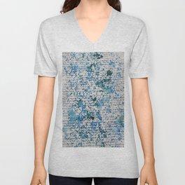 Blue and Emerald Splatter Unisex V-Neck