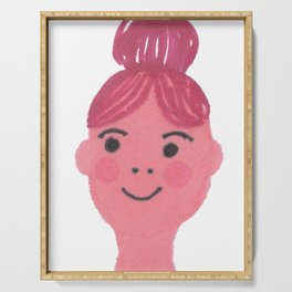 """Kiki"" cute girl with bun and rosy cheeks Serving Tray"