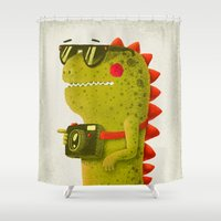 dino Shower Curtains featuring Dino touristo (olive) by Lime