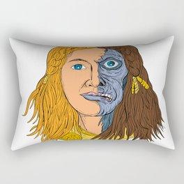Hel Norse Goddess Face Front Drawing Color Rectangular Pillow