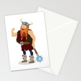 Red-bearded fat viking with a mace Stationery Cards