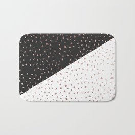 Speckled Rose Gold Flakes on Black White Geometric Bath Mat