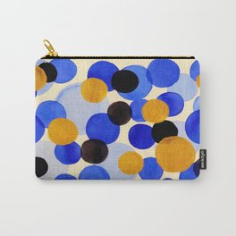 Blue Gold Watercolor Bubbles Circles Painting Carry-All Pouch