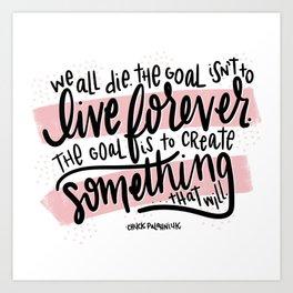 Chuck Palahniuk Quote - Pink Art Print