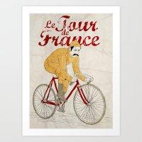 tour de france Art Prints featuring tour de france by cikuta