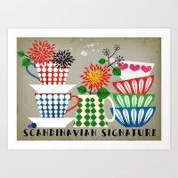 scandinavian Art Prints featuring Scandinavian Signature by Elisandra