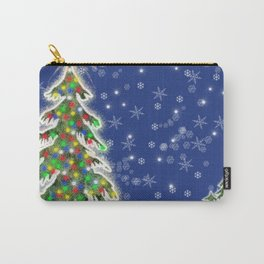 Lighted Christmas Tree at Night with Snowflakes Carry-All Pouch