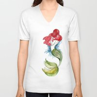 little mermaid V-neck T-shirts featuring Little Mermaid by Ines92