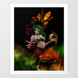 Skull witch Art Print