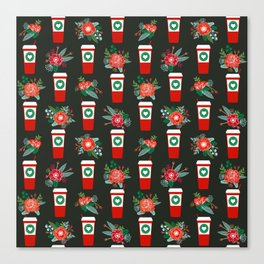 Coffee holiday cups floral bouquet flowers coffees cafe basic art Canvas Print