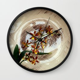 A Brushstroke Of Orchid Genus Wall Clock