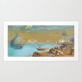 Thomas Charles Leeson Rowbotham (1823-1875), coastal town Art Print