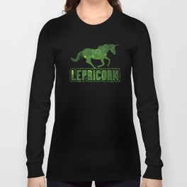 Funny St. Patrick's Day Lucky Green Lepricorn Unicorn Leprechaun Long Sleeve T-shirt