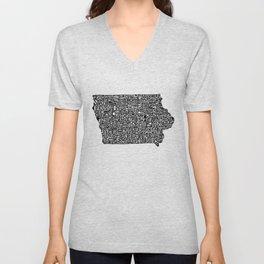 Typographic Iowa Unisex V-Neck