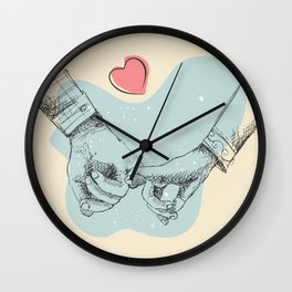 Two lovers are holding hands each other, Romantic line art illustration, valentines day gifts Wall Clock