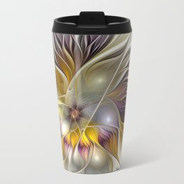 Abstract Fantasy Flower Fractal Art Travel Mug