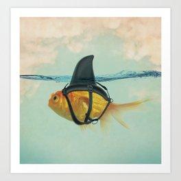 Goldfish with a Shark Fin RM02 Art Print