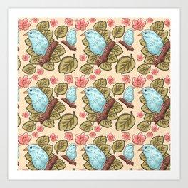 Vintage brown pink teal cute birds botanical floral Art Print