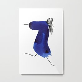 How to be a girl #8 -minimalist girl in bright blue ink Metal Print