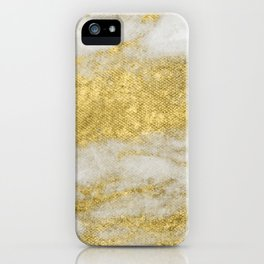 Marble - Glittery Gold Marble and White Pattern iPhone Case