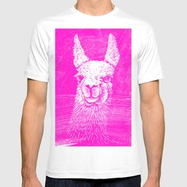 Funny Neon Pink Llama Animal Art Drawing T-shirt